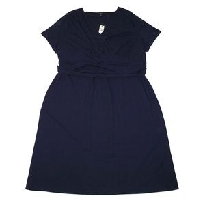 NWT Talbots 2X Jersey Draped Dress Belted Navy